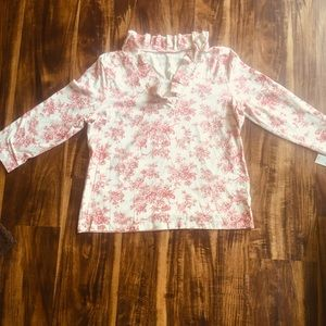 NWT Talbots Red and Khaki Floral Toile Top sz L